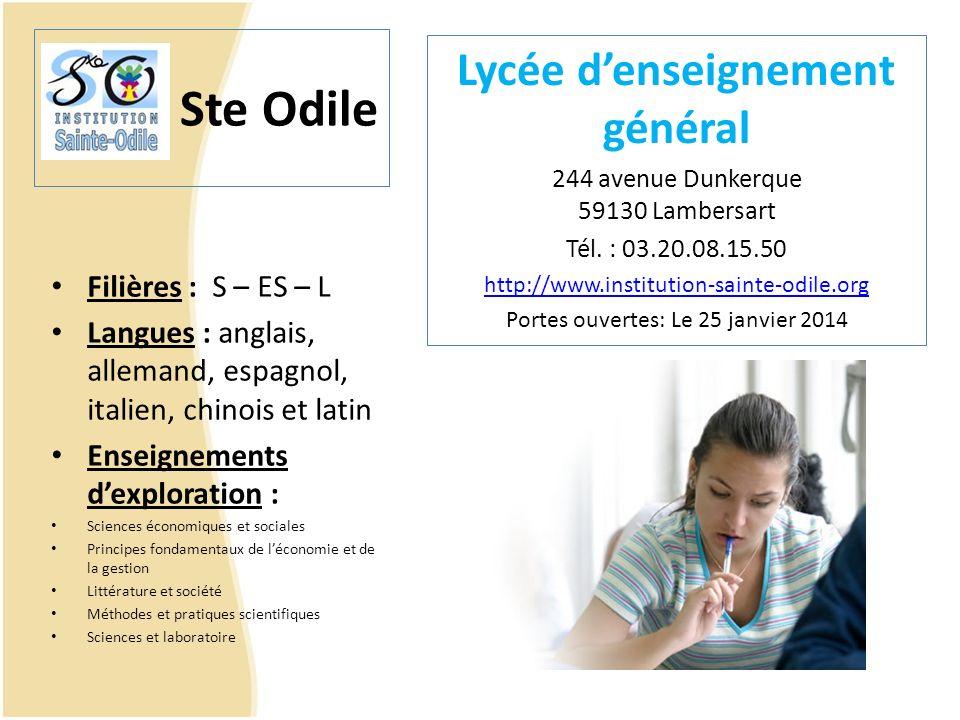 Ste Odile Filières : S – ES – L Langues : anglais, allemand, espagnol, italien, chinois et latin Enseignements dexploration : Sciences économiques et