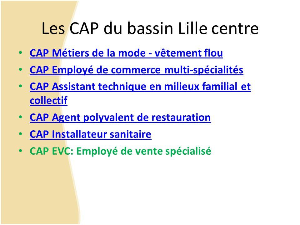 Les CAP du bassin Lille centre CAP Métiers de la mode - vêtement flou CAP Employé de commerce multi-spécialités CAP Assistant technique en milieux fam