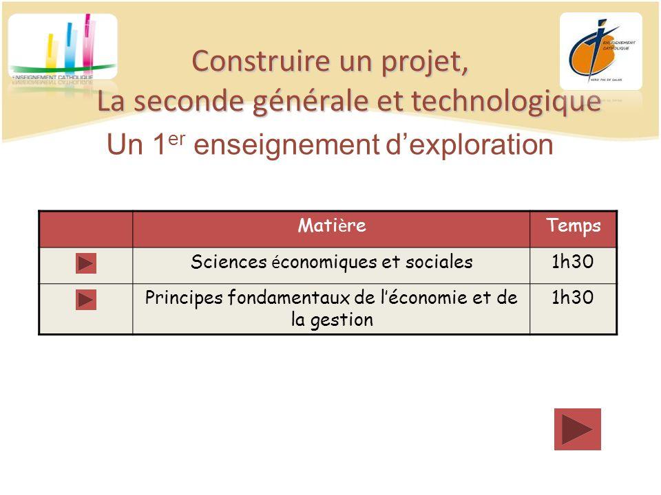 Construire un projet, La seconde générale et technologique Un 1 er enseignement dexploration Mati è reTemps Sciences é conomiques et sociales1h30 Prin