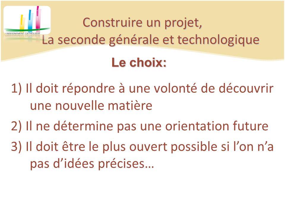 Construire un projet, La seconde générale et technologique 1) Il doit répondre à une volonté de découvrir une nouvelle matière 2) Il ne détermine pas