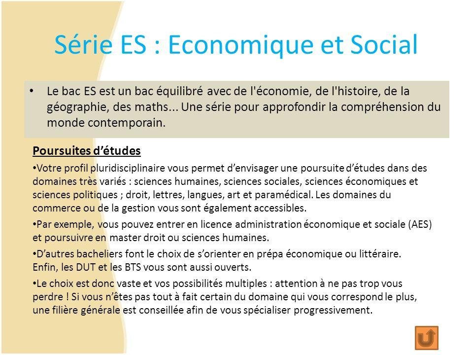Série ES : Economique et Social Le bac ES est un bac équilibré avec de l'économie, de l'histoire, de la géographie, des maths... Une série pour approf