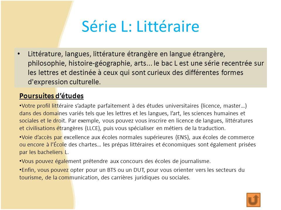 Série L: Littéraire Littérature, langues, littérature étrangère en langue étrangère, philosophie, histoire-géographie, arts... le bac L est une série