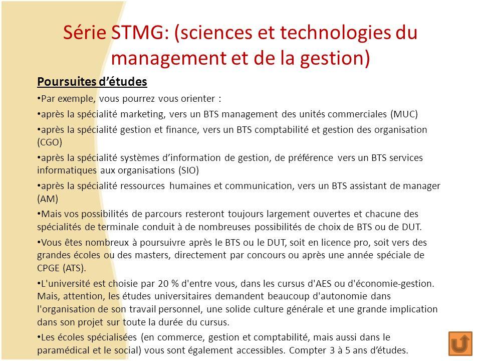 Série STMG: (sciences et technologies du management et de la gestion) Poursuites détudes Par exemple, vous pourrez vous orienter : après la spécialité