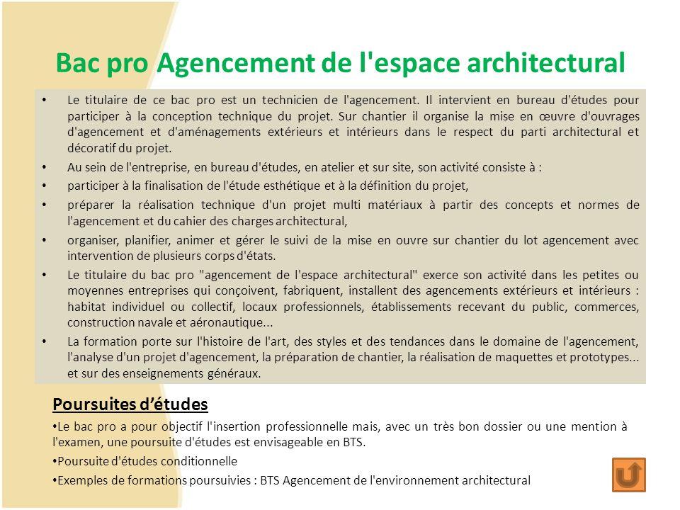 Bac pro Agencement de l'espace architectural Le titulaire de ce bac pro est un technicien de l'agencement. Il intervient en bureau d'études pour parti