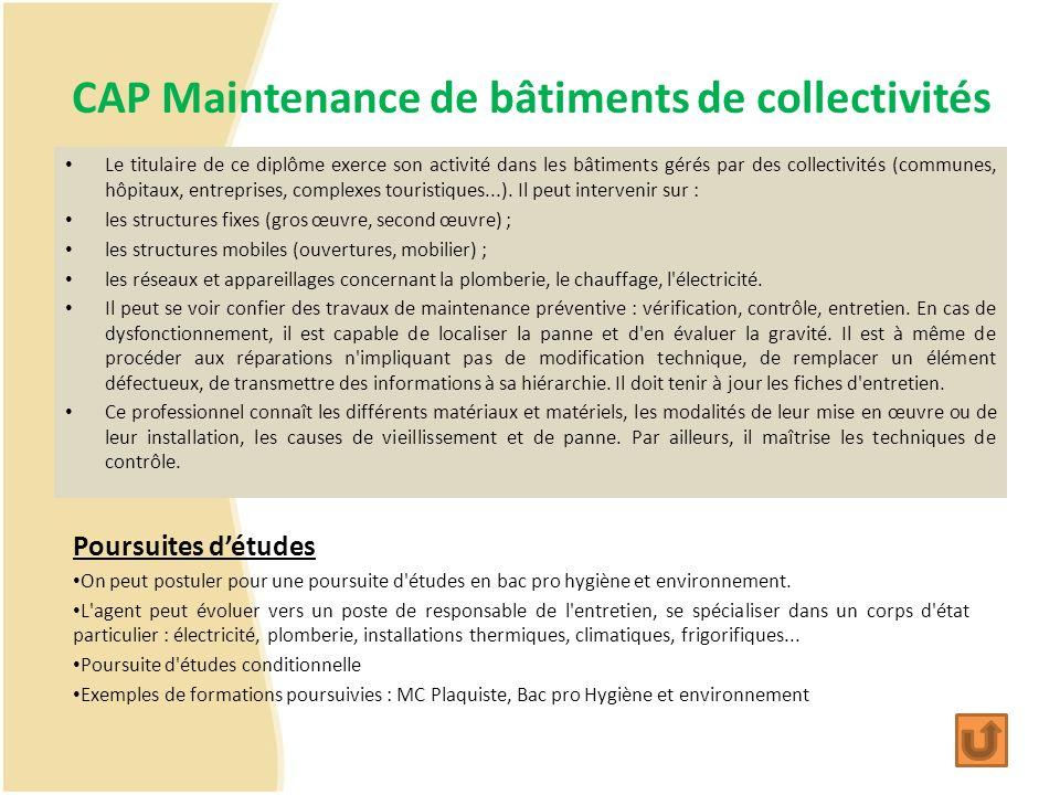 CAP Maintenance de bâtiments de collectivités Le titulaire de ce diplôme exerce son activité dans les bâtiments gérés par des collectivités (communes,