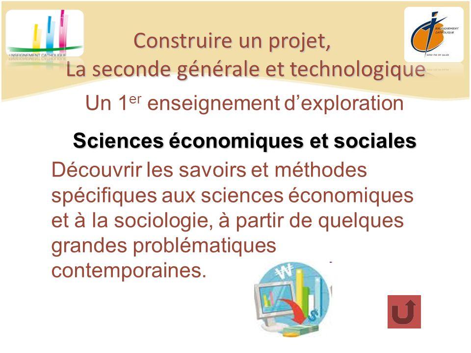 Construire un projet, La seconde générale et technologique Un 1 er enseignement dexploration Sciences économiques et sociales Découvrir les savoirs et