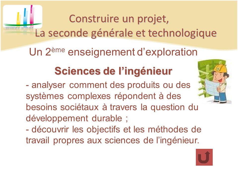 Construire un projet, La seconde générale et technologique Un 2 ème enseignement dexploration Sciences de lingénieur - analyser comment des produits o