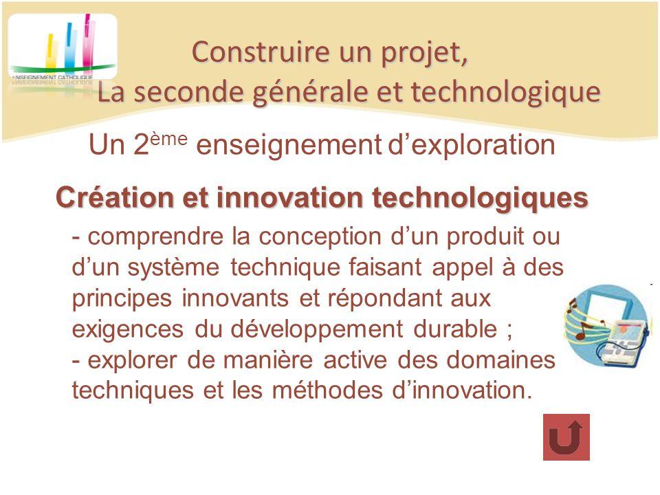 Construire un projet, La seconde générale et technologique Un 2 ème enseignement dexploration Création et innovation technologiques - comprendre la co