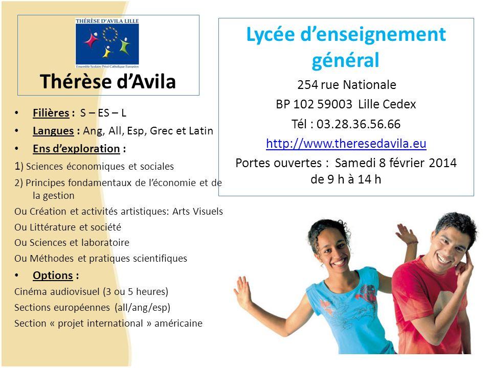 St Paul Lycée denseignement général 25 bis rue Colbert - 59000 LILLE Tel.