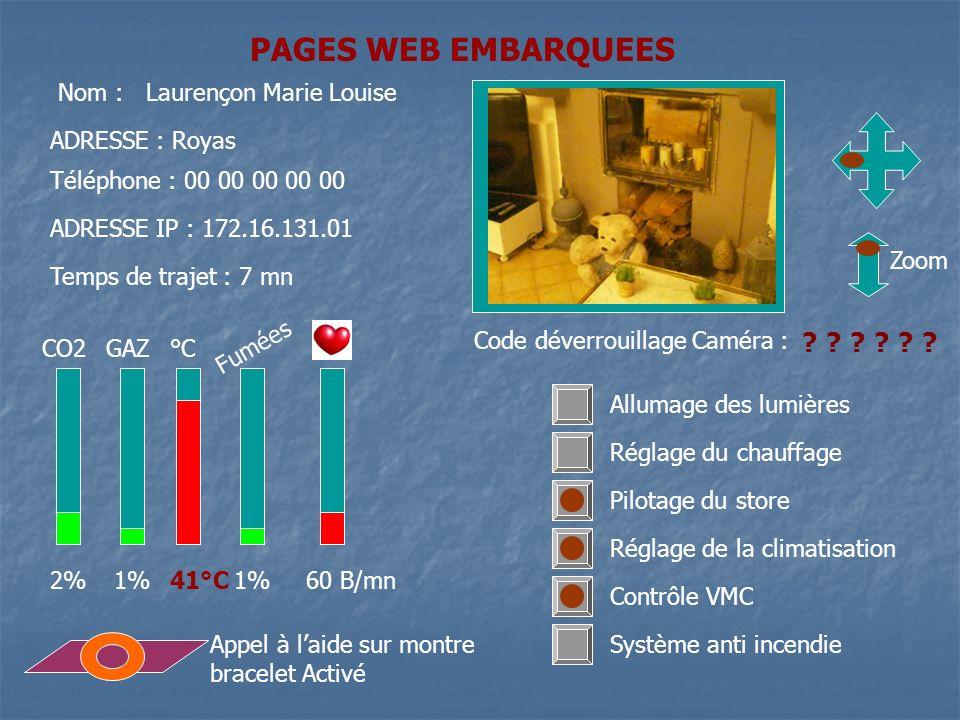 PAGES WEB EMBARQUEES CO2GAZ°C ADRESSE : Royas Téléphone : 00 00 00 00 00 ADRESSE IP : 172.16.131.01 Nom : Laurençon Marie Louise Temps de trajet : 7 m