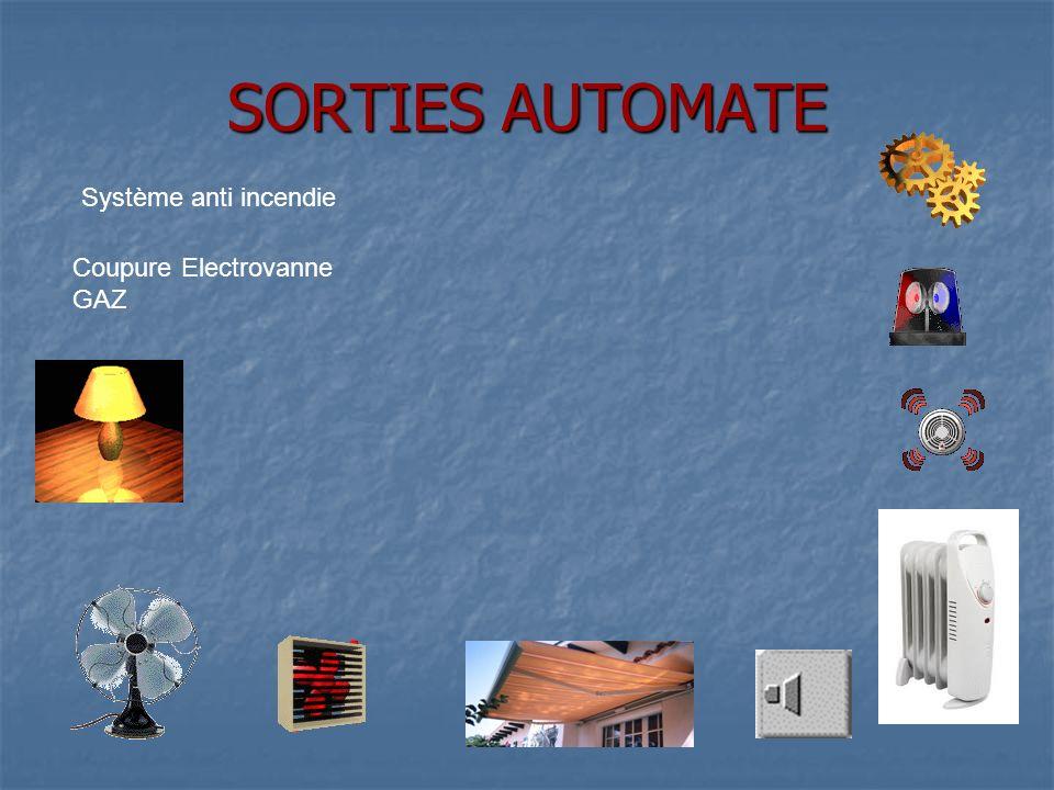 SORTIES AUTOMATE Coupure Electrovanne GAZ Système anti incendie