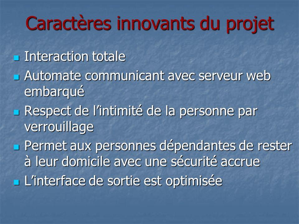 Caractères innovants du projet Interaction totale Interaction totale Automate communicant avec serveur web embarqué Automate communicant avec serveur