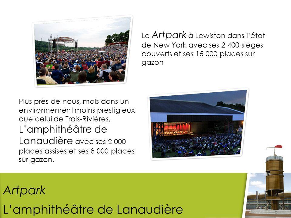 Le Artpark à Lewiston dans létat de New York avec ses 2 400 sièges couverts et ses 15 000 places sur gazon Artpark Plus près de nous, mais dans un environnement moins prestigieux que celui de Trois-Rivières, Lamphithéâtre de Lanaudière avec ses 2 000 places assises et ses 8 000 places sur gazon.