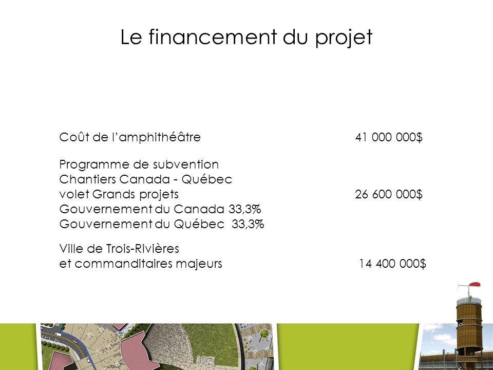 Le financement du projet Coût de lamphithéâtre 41 000 000$ Programme de subvention Chantiers Canada - Québec volet Grands projets26 600 000$ Gouvernement du Canada 33,3% Gouvernement du Québec 33,3% Ville de Trois-Rivières et commanditaires majeurs 14 400 000$