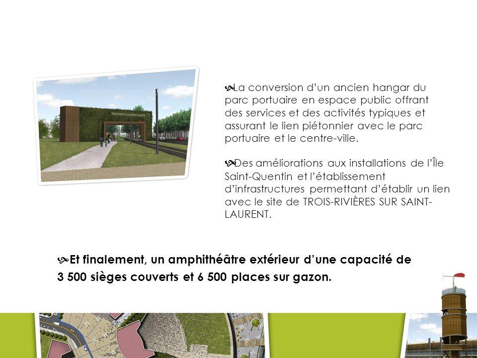 Les services Les espaces de services comprendront des loges, des entrepôts, une billetterie, des concessions et des salles de toilettes.