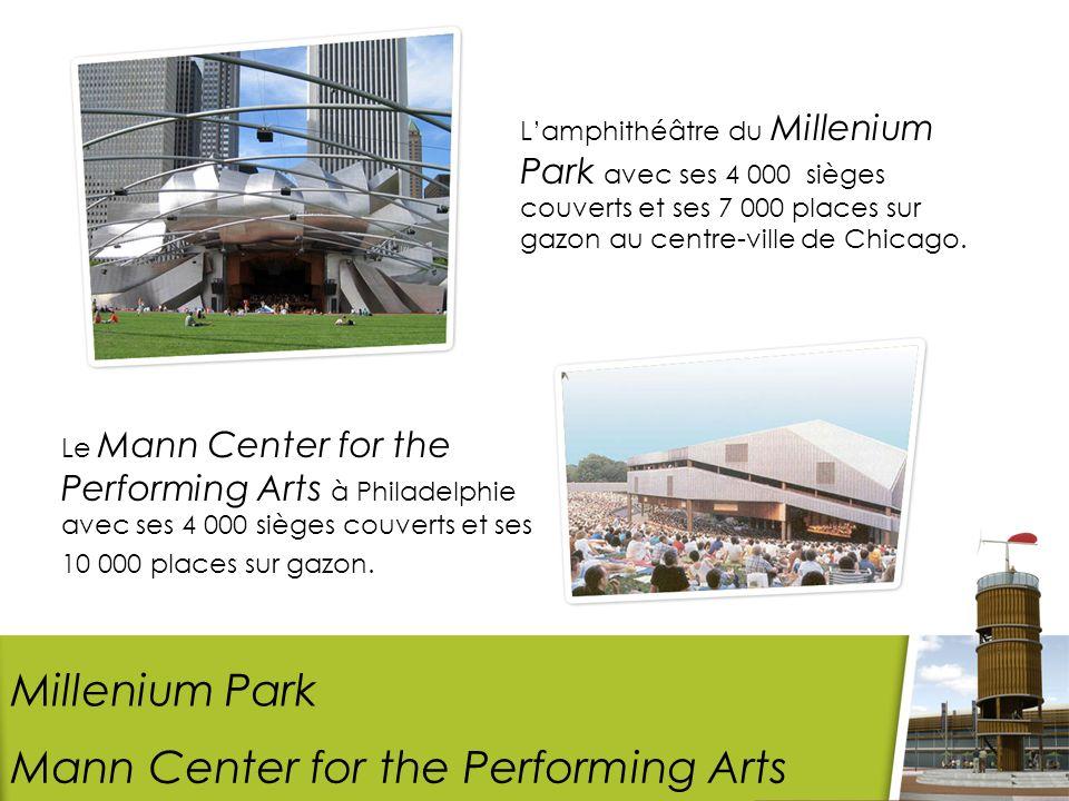 Lamphithéâtre du Millenium Park avec ses 4 000 sièges couverts et ses 7 000 places sur gazon au centre-ville de Chicago.