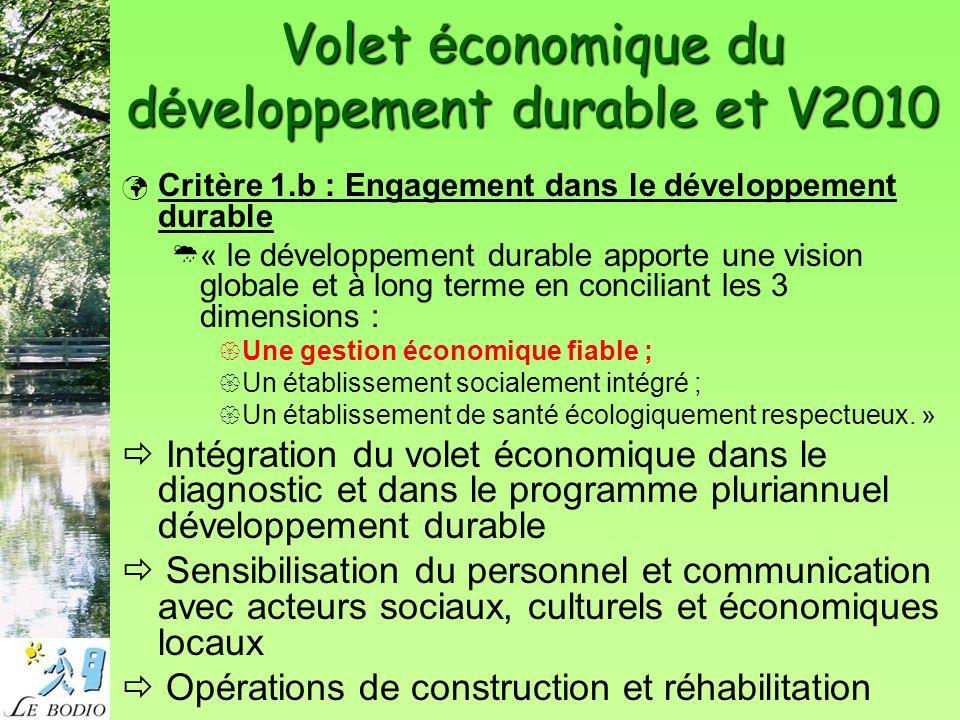 Volet é conomique du d é veloppement durable et V2010 Critère 1.b : Engagement dans le développement durable « le développement durable apporte une vision globale et à long terme en conciliant les 3 dimensions : Une gestion économique fiable ; Un établissement socialement intégré ; Un établissement de santé écologiquement respectueux.