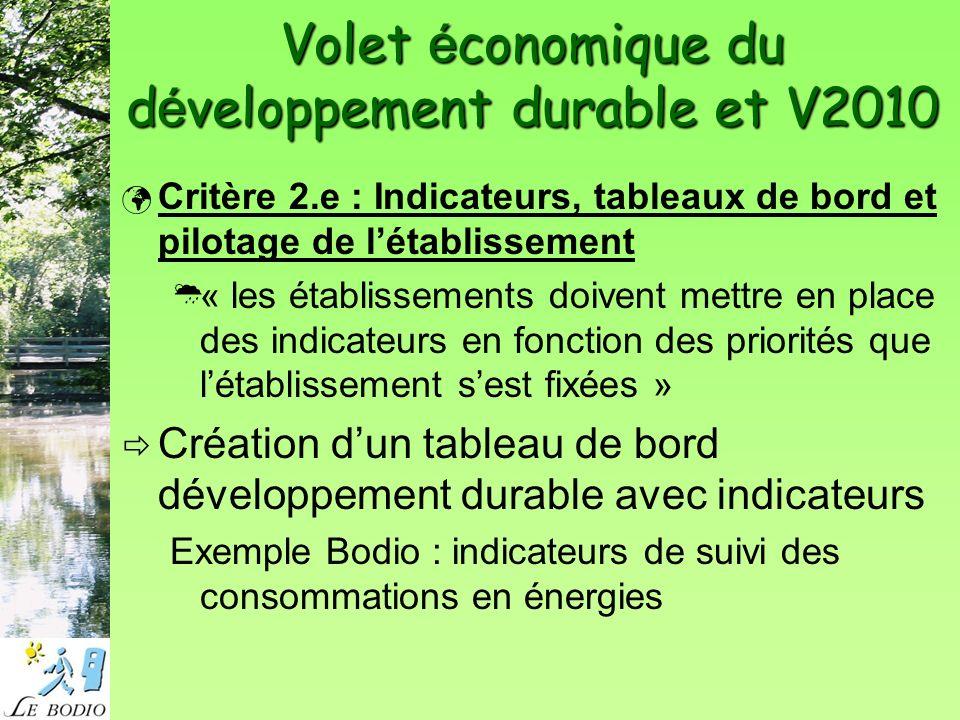Volet é conomique du d é veloppement durable et V2010 Critère 7.d : Hygiène des locaux Choix des produits : efficaces, toxicité minimale pour utilisateur et environnement, à moindre coût.