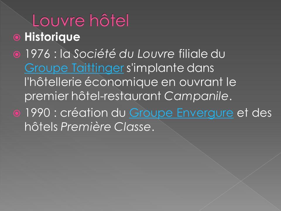 Bref historique sur le groupe « louvre » Louvre Hotels (ex-Groupe Envergure) compose le pôle hôtellerie économique du Groupe du Louvre.Groupe Envergur
