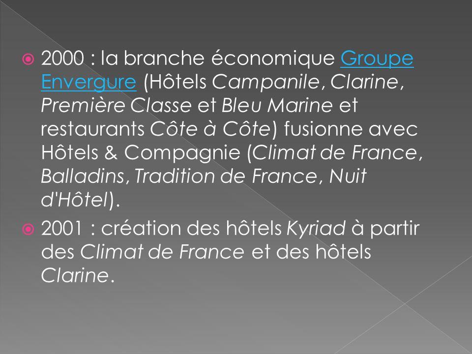 Historique 1976 : la Société du Louvre filiale du Groupe Taittinger s'implante dans l'hôtellerie économique en ouvrant le premier hôtel-restaurant Cam