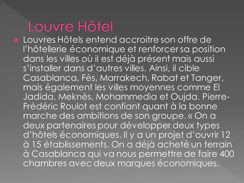 La stratégie Marketing du Louvre Hôtel Le groupe hôtelier possède déjà 5 hôtels au Maroc : Casablanca, Khouribga, Marrakech, Rabat et Safi. Et il ne c