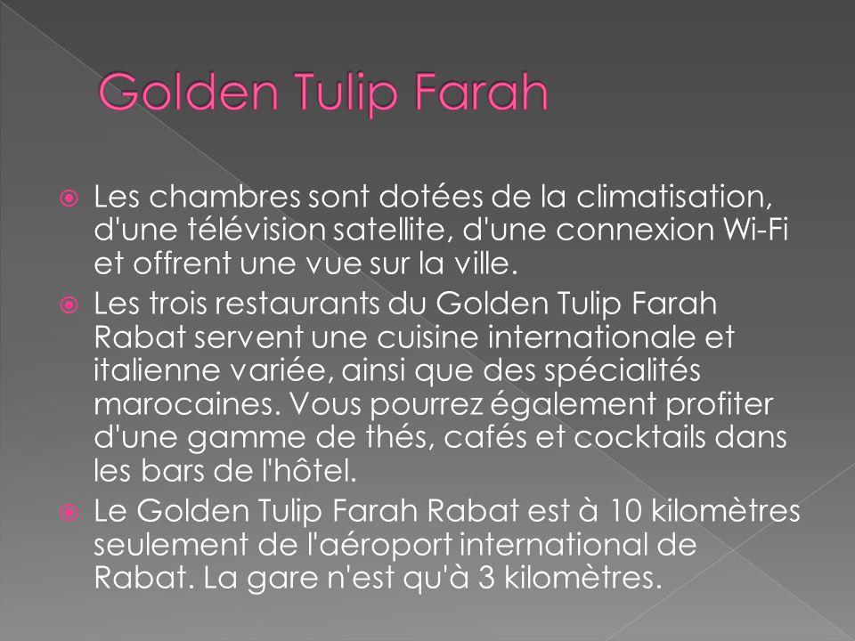 Fleuron du groupe Golden Tulip aux Maroc, le Golden Tulip Farah Rabat déploie 192 chambres sur la rive du fleuve Bourgreb. Véritable sanctuaire au cen