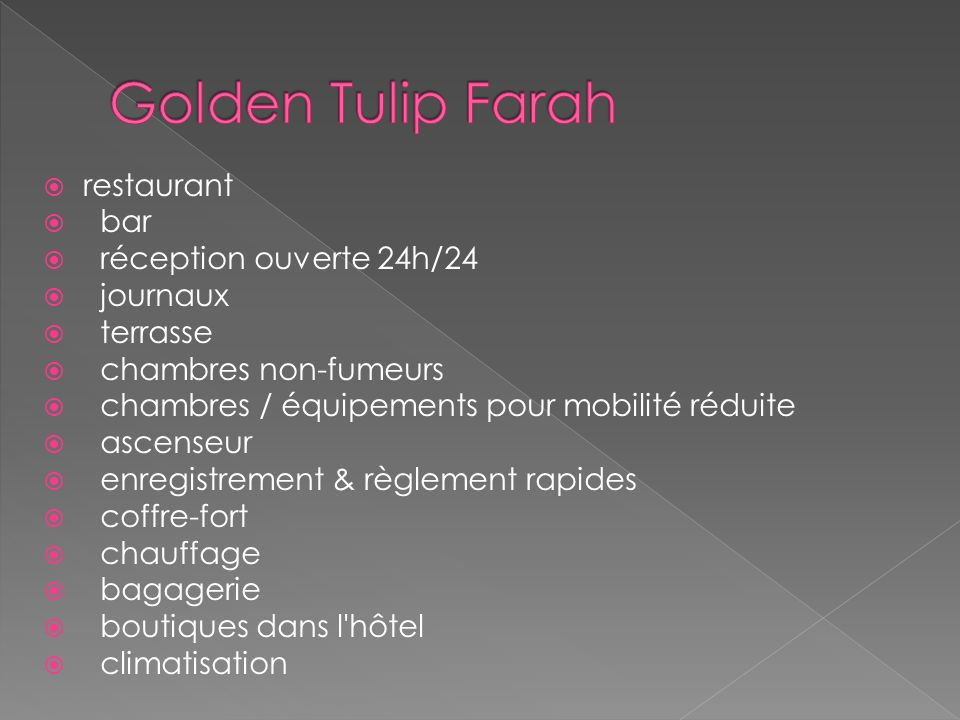 Caractéristiques & installations : Le golden tulip farah rabat dispose de 193 chambres en total,il contient des chambres simple standard, des chambres