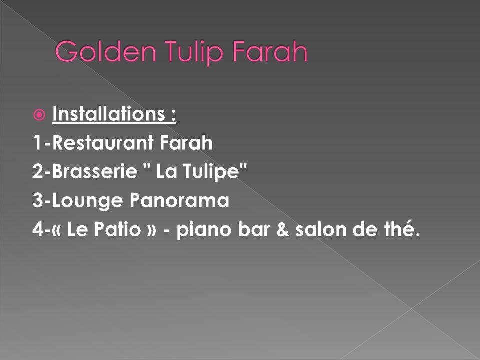 le golden tulip offre 15 services disponible : service en chambre salles de réunions / banquets navette d'aéroport centre d'affaires blanchisserie net