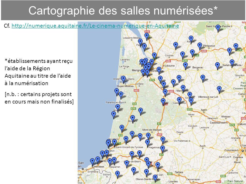 Cartographie des salles numérisées* 7 *établissements ayant reçu laide de la Région Aquitaine au titre de laide à la numérisation [n.b. : certains pro