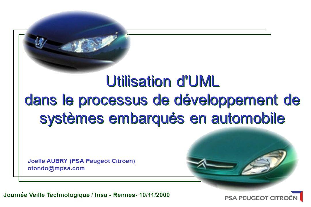 Journée Veille Technologique / Irisa - Rennes- 10/11/2000 Joëlle AUBRY (PSA Peugeot Citroën) otondo@mpsa.com Utilisation d UML dans le processus de développement de systèmes embarqués en automobile Utilisation d UML dans le processus de développement de systèmes embarqués en automobile