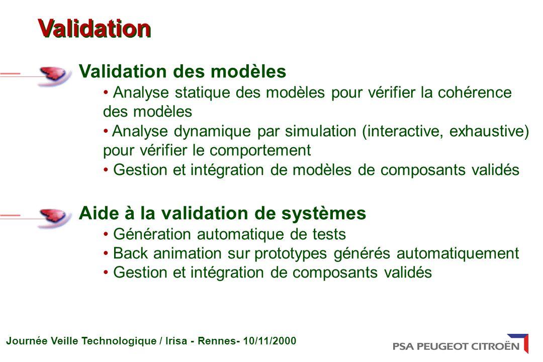 Journée Veille Technologique / Irisa - Rennes- 10/11/2000 Validation des modèles Analyse statique des modèles pour vérifier la cohérence des modèles A