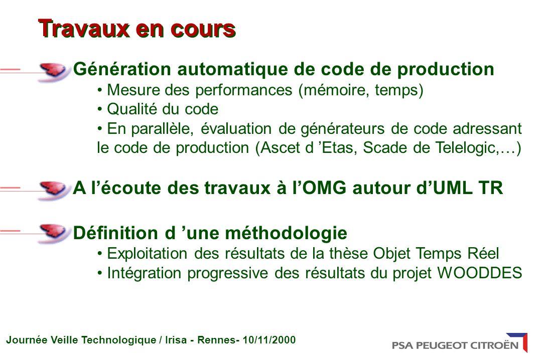 Journée Veille Technologique / Irisa - Rennes- 10/11/2000 Génération automatique de code de production Mesure des performances (mémoire, temps) Qualit