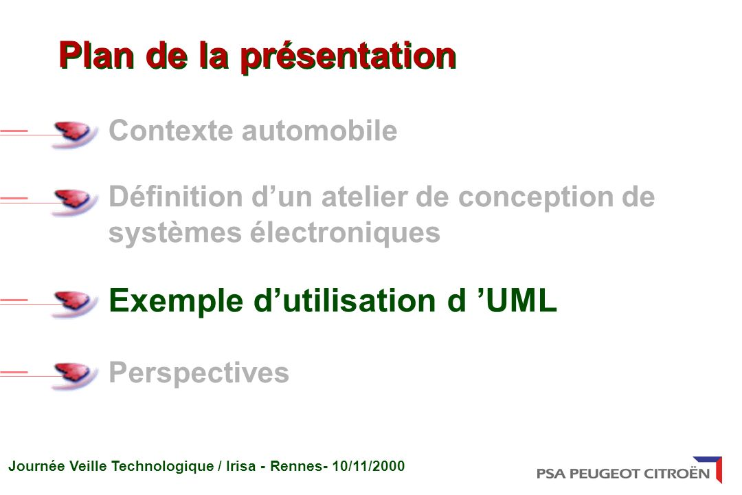 Journée Veille Technologique / Irisa - Rennes- 10/11/2000 Contexte automobile Définition dun atelier de conception de systèmes électroniques Exemple dutilisation d UML Perspectives Plan de la présentation