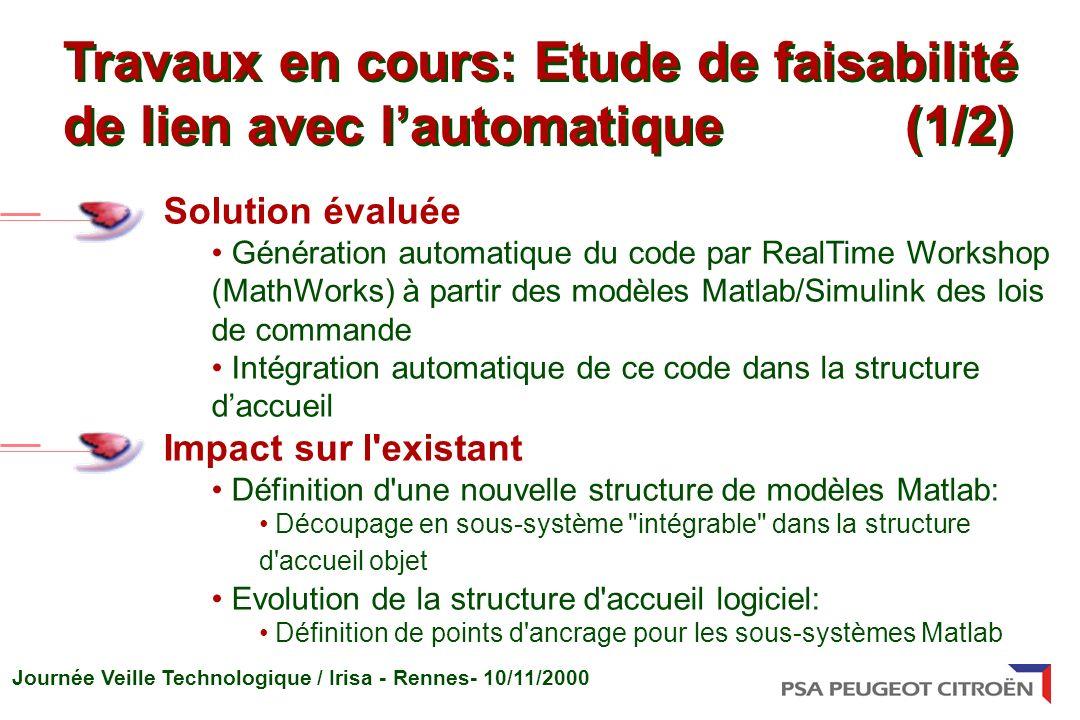 Journée Veille Technologique / Irisa - Rennes- 10/11/2000 Solution évaluée Génération automatique du code par RealTime Workshop (MathWorks) à partir d