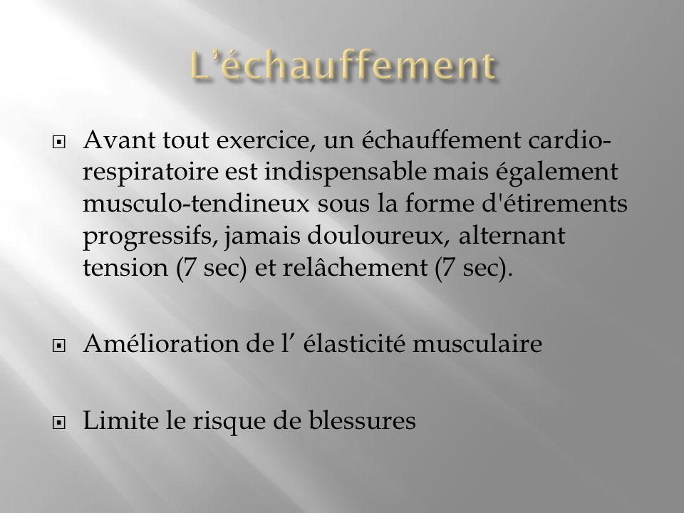 Avant tout exercice, un échauffement cardio- respiratoire est indispensable mais également musculo-tendineux sous la forme d'étirements progressifs, j