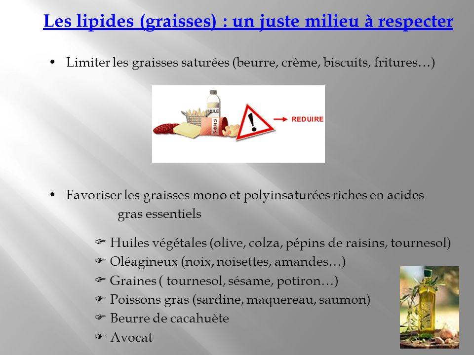 Les lipides (graisses) : un juste milieu à respecter Limiter les graisses saturées (beurre, crème, biscuits, fritures…) Favoriser les graisses mono et