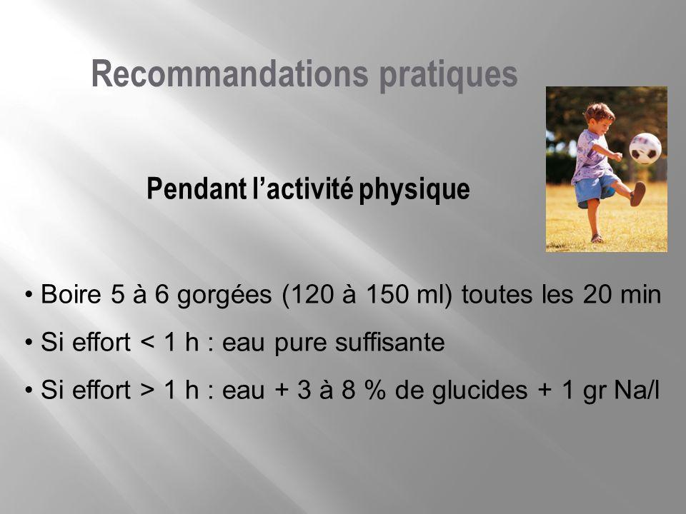 Pendant lactivité physique Recommandations pratiques Boire 5 à 6 gorgées (120 à 150 ml) toutes les 20 min Si effort < 1 h : eau pure suffisante Si eff