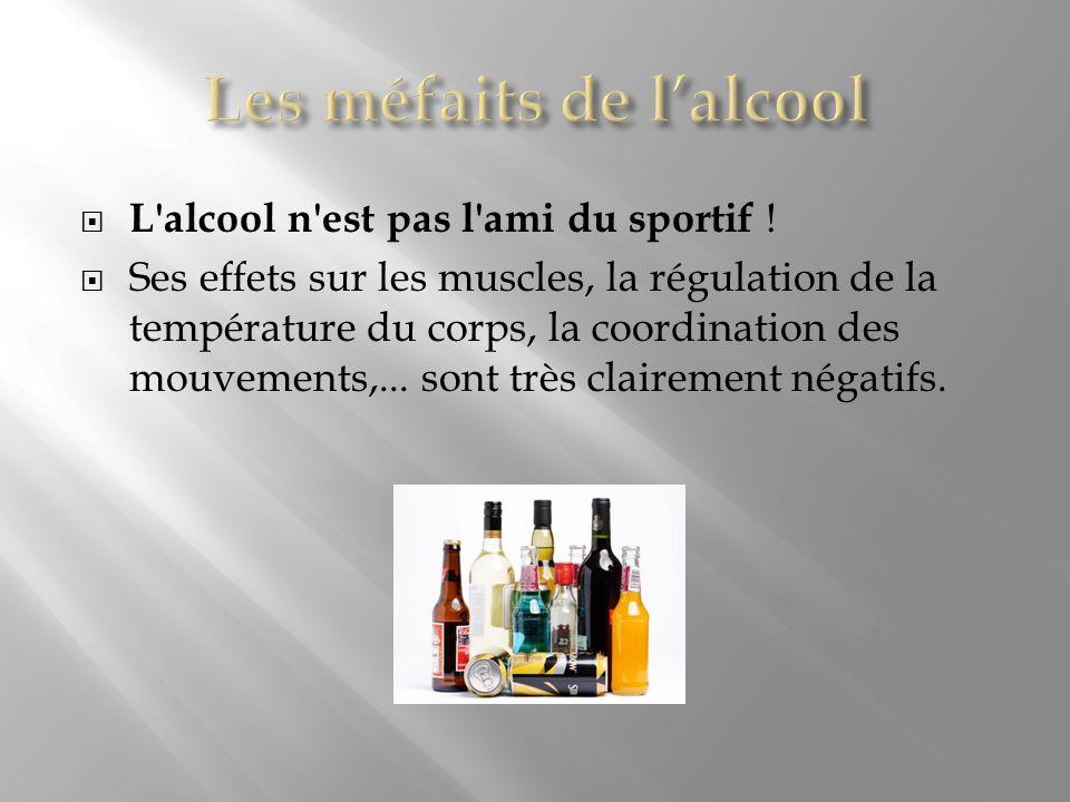 L'alcool n'est pas l'ami du sportif ! Ses effets sur les muscles, la régulation de la température du corps, la coordination des mouvements,... sont tr