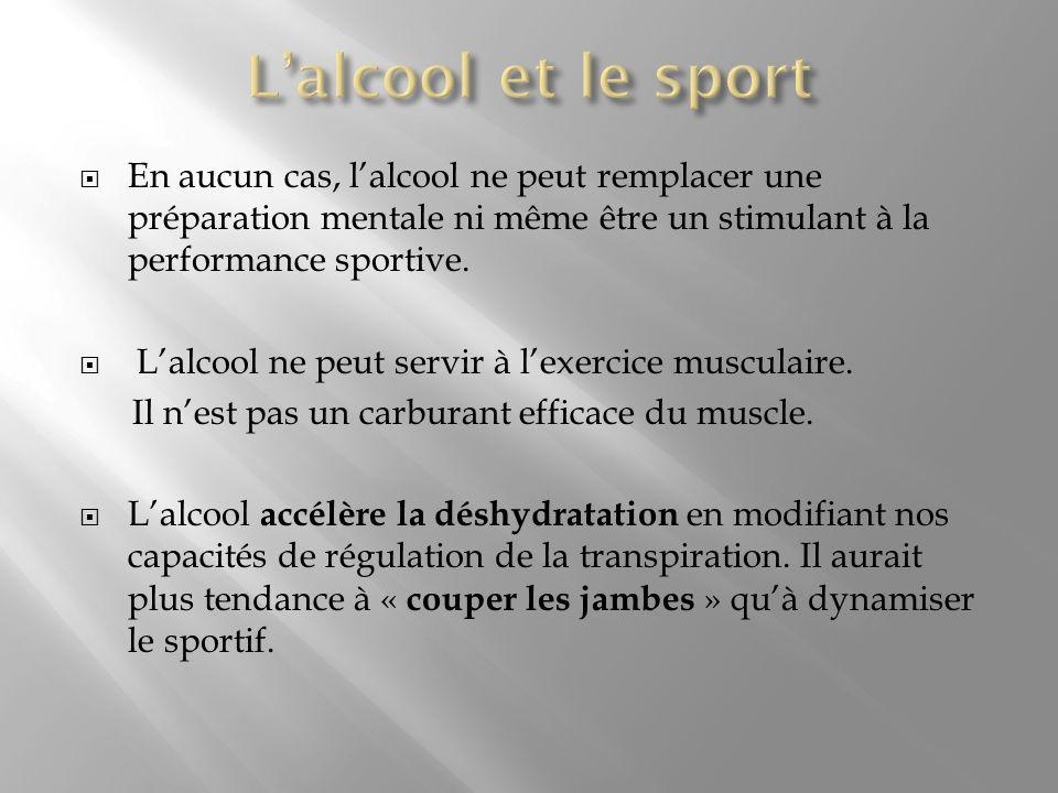 En aucun cas, lalcool ne peut remplacer une préparation mentale ni même être un stimulant à la performance sportive. Lalcool ne peut servir à lexercic