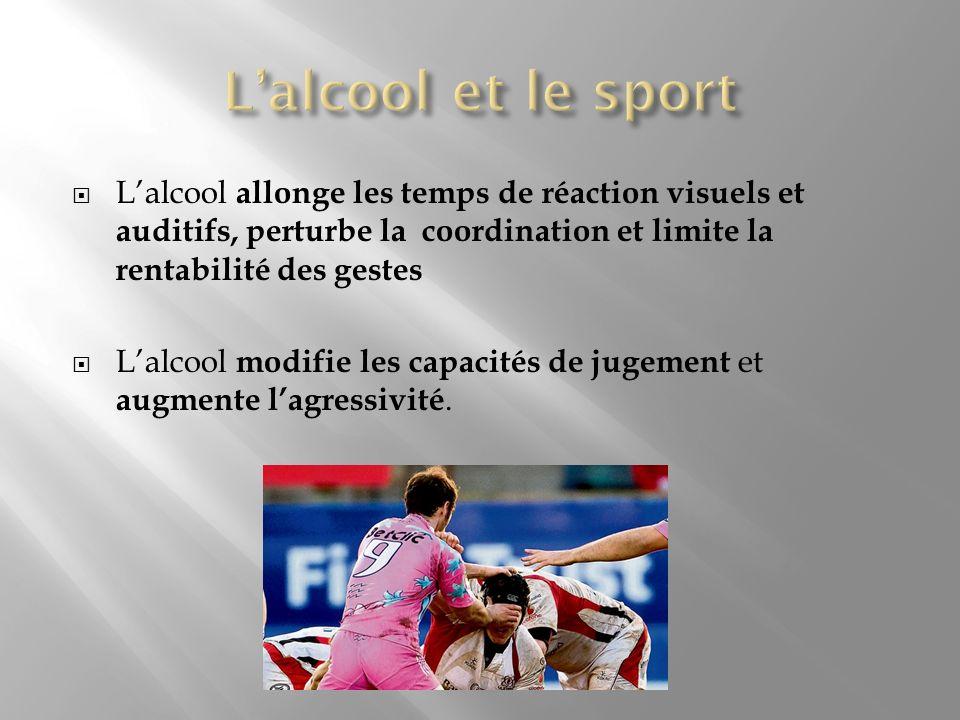 Lalcool allonge les temps de réaction visuels et auditifs, perturbe la coordination et limite la rentabilité des gestes Lalcool modifie les capacités