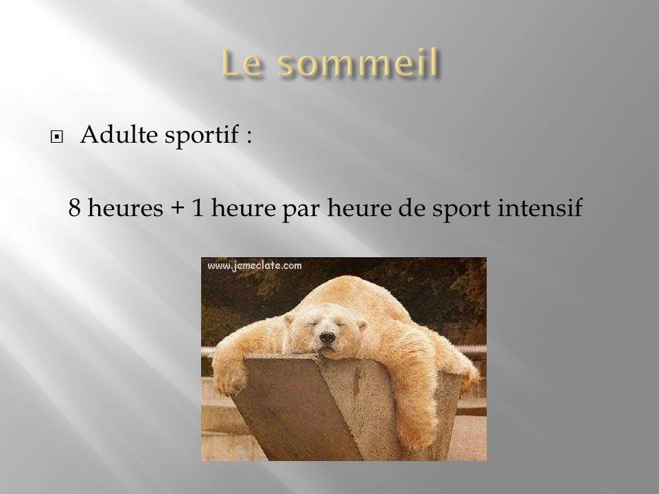 Adulte sportif : 8 heures + 1 heure par heure de sport intensif