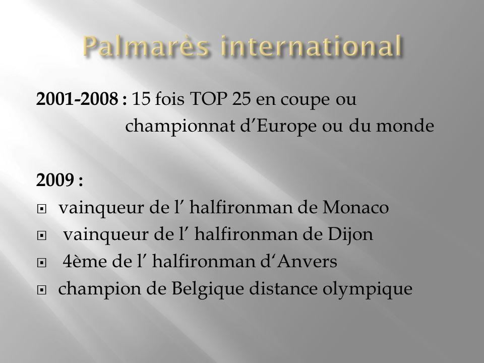 2001-2008 : 15 fois TOP 25 en coupe ou championnat dEurope ou du monde 2009 : vainqueur de l halfironman de Monaco vainqueur de l halfironman de Dijon