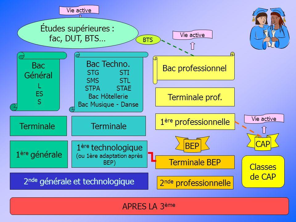 2 nde générale et technologique 1 ère générale Terminale 1 ère technologique (ou 1ère adaptation après BEP) Terminale APRES LA 3 ème Bac Général L ES