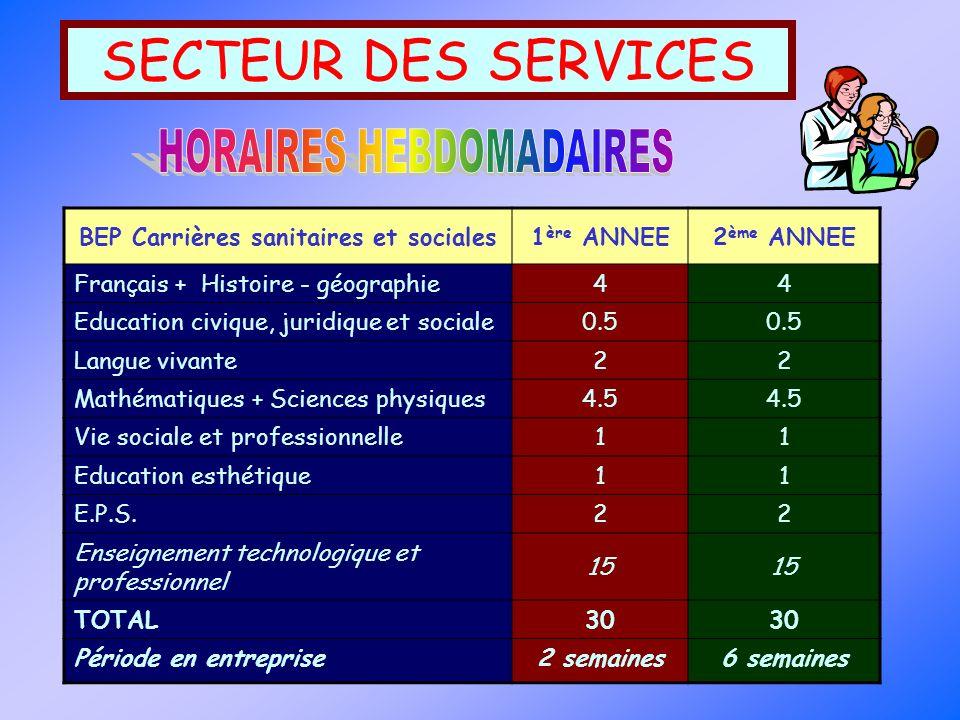 SECTEUR DES SERVICES BEP Carrières sanitaires et sociales1 ère ANNEE2 ème ANNEE Français + Histoire - géographie44 Education civique, juridique et soc