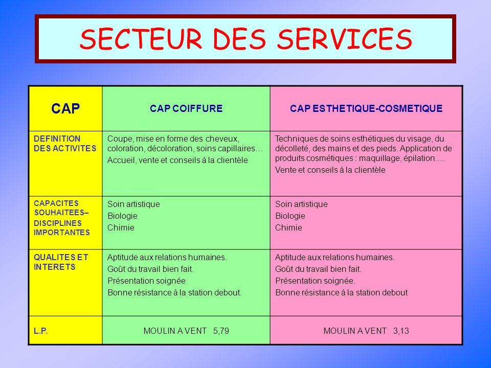 SECTEUR DES SERVICES CAP BEP CAP PATISSIER GLACIER CHOCOLATIER CONFISEUR CAP AGENT POLYVALENT DE RESTAURATION (A.P.R.) BEP BIO-SERVICES : Agent technique dalimentation (A.T.A.) BEP METIERS DE LA RESTAURATION ET DE LHOTELLERIE DEFINITION DES ACTIVITES Préparation, cuisson, commercialisation des fabrications variées de produits, de ces spécialités, en respectant les impératifs techniques et les règles d hygiène Activités de cuisine, service à table en restaurants et services de restauration collective.