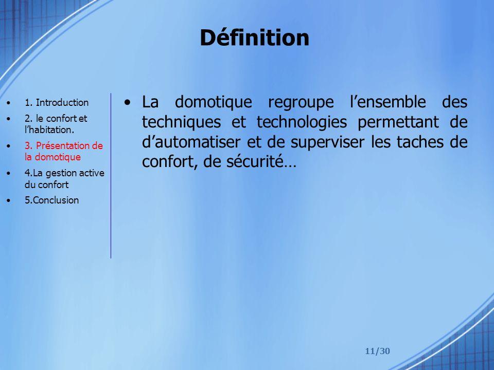 11/30 Définition La domotique regroupe lensemble des techniques et technologies permettant de dautomatiser et de superviser les taches de confort, de sécurité… 1.
