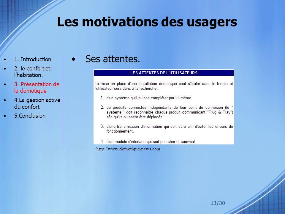 13/30 Les motivations des usagers Ses attentes. 1. Introduction 2. le confort et lhabitation. 3. Présentation de la domotique 4.La gestion active du c