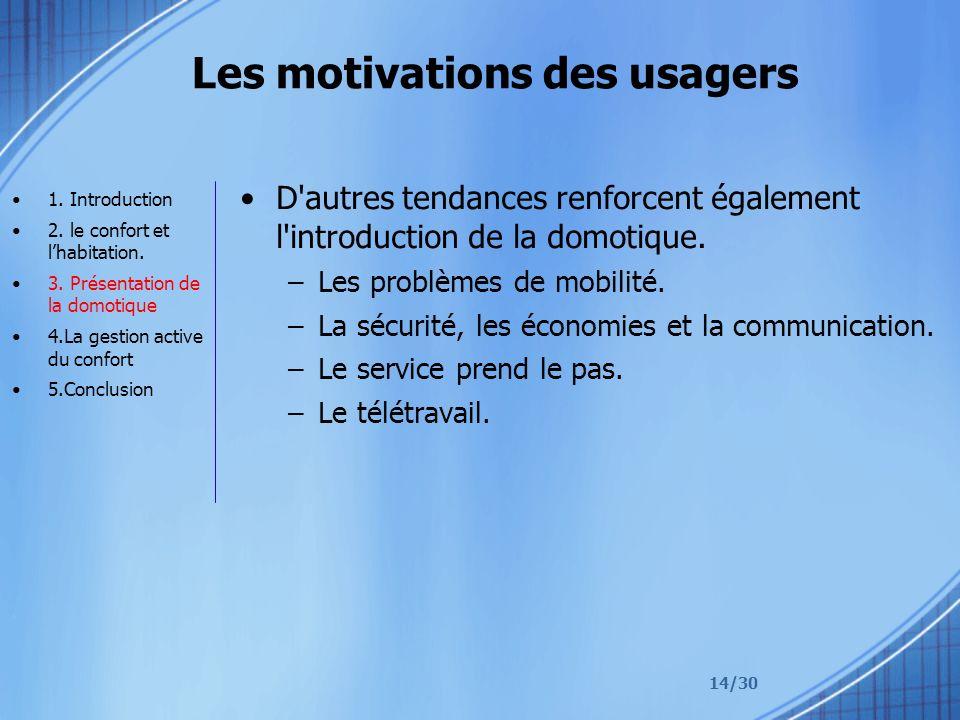 14/30 Les motivations des usagers D'autres tendances renforcent également l'introduction de la domotique. –Les problèmes de mobilité. –La sécurité, le