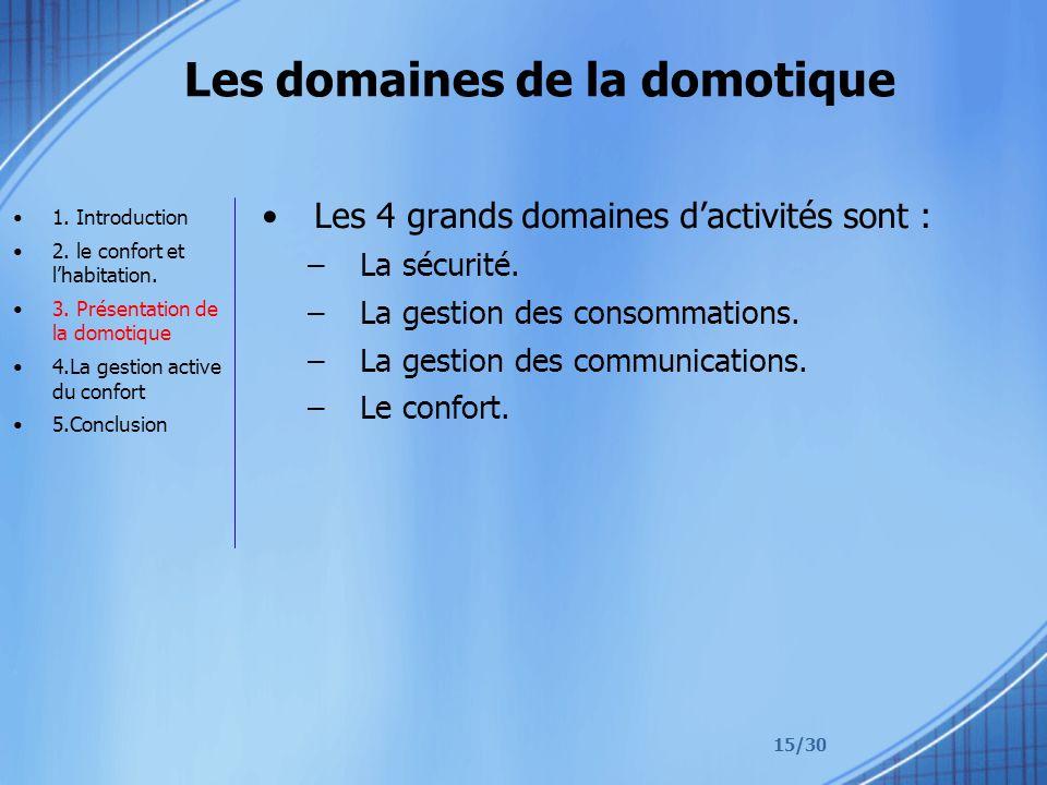 15/30 Les domaines de la domotique Les 4 grands domaines dactivités sont : –La sécurité. –La gestion des consommations. –La gestion des communications