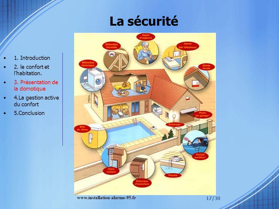 17/30 La sécurité 1. Introduction 2. le confort et lhabitation. 3. Présentation de la domotique 4.La gestion active du confort 5.Conclusion www.instal